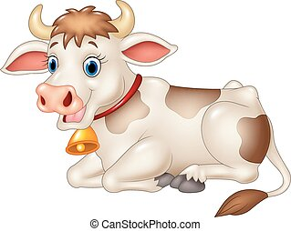 Cartoon funny cow sitting isolated