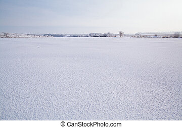 frozen lake with snow - frozen picturesque lake with winter...