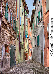 old alley in Brisighella, Emilia Romagna, Italy -...