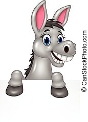 Cartoon funny donkey with blank sig - Vector illustration of...