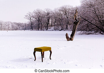 vintage winter chair for winter fishing on frozen lake