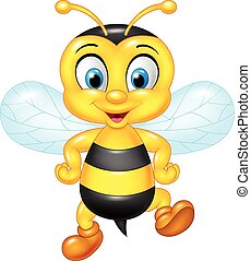 Cartoon funny bee posing isolated - Vector illustration of...