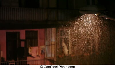 Rain in city at night
