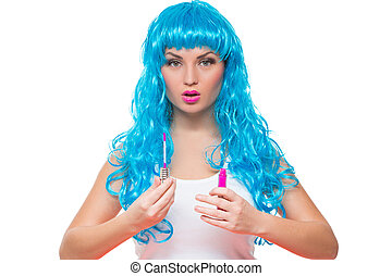young girl doll with blue hair lipstick - young girl doll...