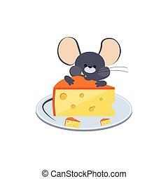 Little Gray Mouse Chewing Cheese on a Plate. Vector Illustration