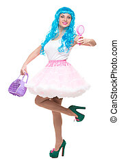 young girl doll with blue hair holding a mirror and handbag...