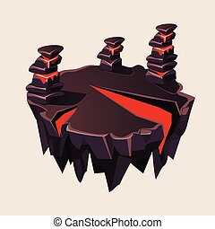 Cartoon Stone Isometric Island with Volcano for Game, Vector...