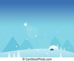 Wallpaper Landscape of Winter Mountains, Igloo and Moon, Vector Illustration