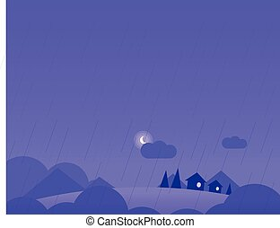 Wallpaper Landscape with Village Houses, Hills and Moon in Rainy Weather, Vector Illustration