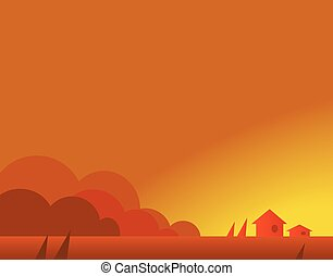 Wallpaper Landscape with Village Houses in Autumn, Vector Illustration