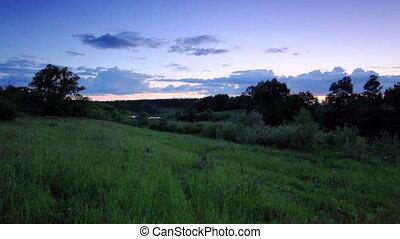 Sunset on the river Myosha Kulaevo village, Republic of...