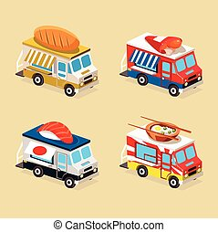 Food Truck Designs Collection of Vector Illustrations - Food...