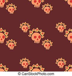 seamless pattern with a bouquet of roses on the skull