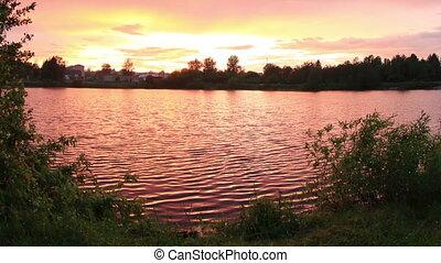 Sunset on the lake, Mozhga