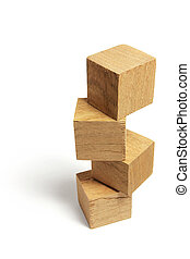 Stack of Wooden Blocks on White Background