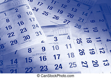 Calendar Pages - Close Up of Calendar Pages in Blue Tone