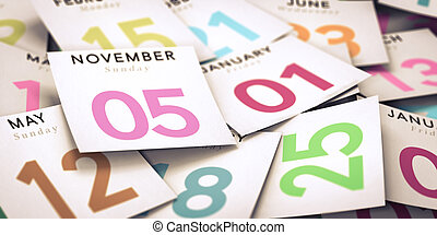Day of the Week, Calendar - Many tear-off day calendar with...