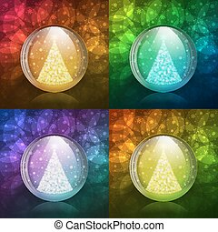 Luminescent snow globe - Four vector illustrations of a...