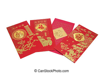 Chinese New Year Red Packets on White Background