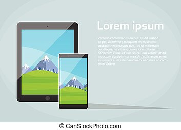 Tablet Smart Phone Responsive Design App Screen Flat