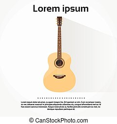 Acoustic Guitar Flat Isolated over White Background