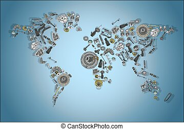 Draw a map of the world made up of spare parts - Draw a big...