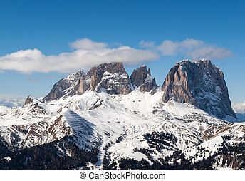 Skiing area in the Dolomites Alps Italy - Dolomites Alps -...