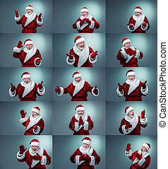 Collage of Santa Claus different emotions. Christmas concept...