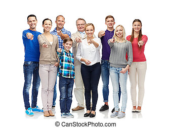 group of smiling people - family, gender, generation and...