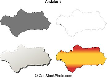Andalusia blank detailed outline map set - Andalusia blank...