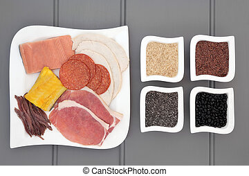 High Protein Food - High protein health food diet of meat,...