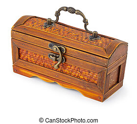 Old box - trunk on white background