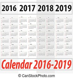 Calendar 2016 2017 2018 2019 starting from sunday - Calendar...