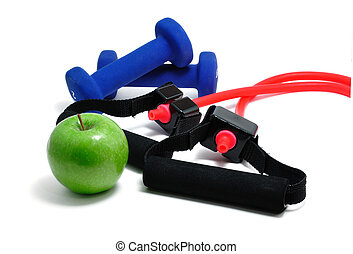 Resistance Band, Blue Weights and Green Apple - Resistance...