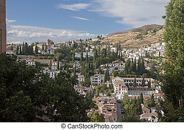 Albayzin from the Alhambra - Granada in Spain: looking...