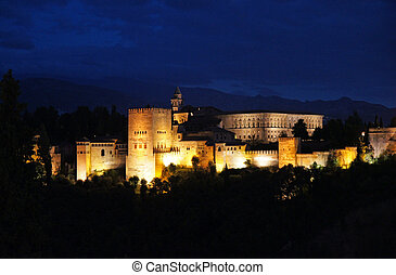 Alhambra Palace at night - Granada in Spain: the Alhambra...
