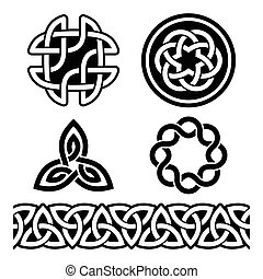 Celtic Irish patterns and knots - Set of traditional Celtic...