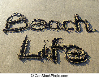 Beach Life  written in sand