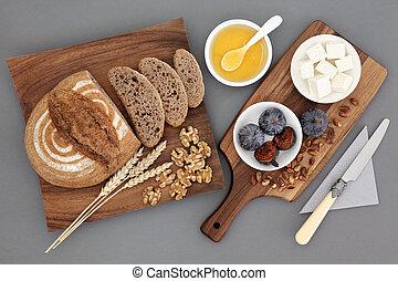 Greek Snack Food - Greek snack food with feta cheese, honey,...