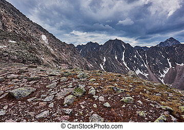 Place the mountain pass Eastern Siberia Sayan MountainsThe...