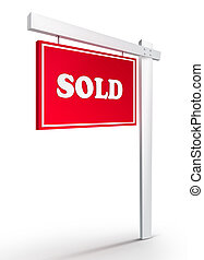 Real Estate Sign - Sold on white background 2D artwork...