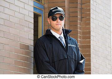 standing, entrata, maschio, guardia, sicurezza
