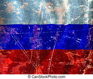 Russian flag waving in the wind with some damage