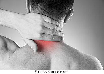 cuerpo, dolor, cuello, hombre, hombre, dolor de espalda