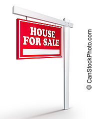 Real Estate Sign - House For sale on white background. 2D...