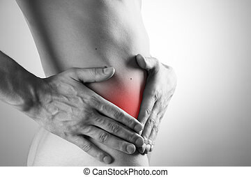 Pain, in, a, man's, body., Attack, of, appendicitis