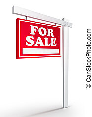 Real Estate Sign - For sale on white background. 2D artwork....