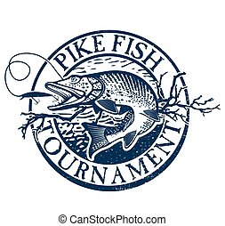 Vintage trout fishing emblems, labels and design elements -...