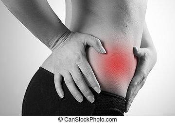 dor, em, a, mulher, body., ataque, de, apendicite,
