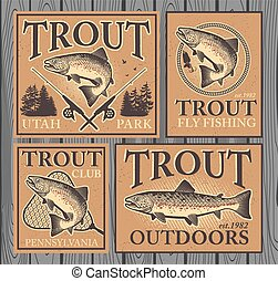 Trout fishing - Vintage trout fishing emblems, labels and...